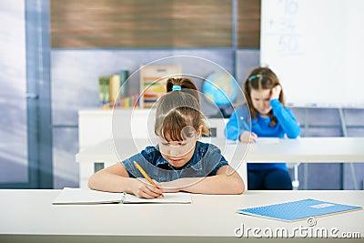 Schoolgirls learning in classroom