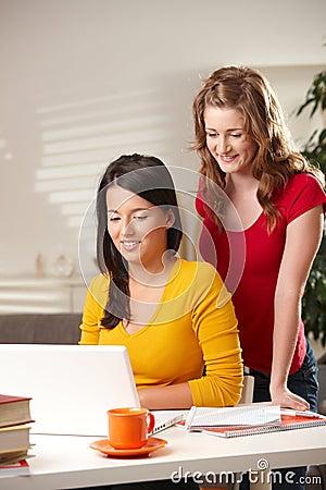 Schoolgirls looking at laptop
