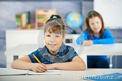 Schoolgirls in primary school classroom