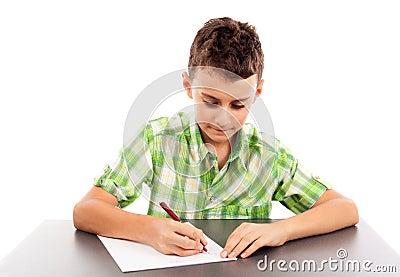Schooljongen bij examen