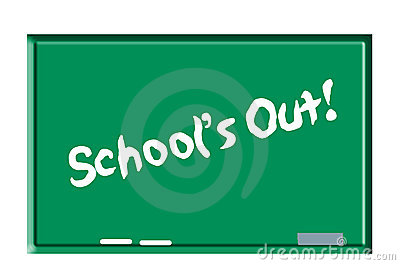 Schools out on chalkboard