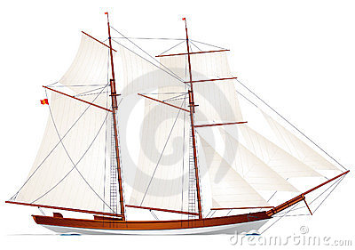 Schooner. Sailboat. Sailing vessel
