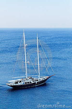Schooner yacht in blue sea