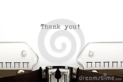 Schreibmaschine danken Ihnen