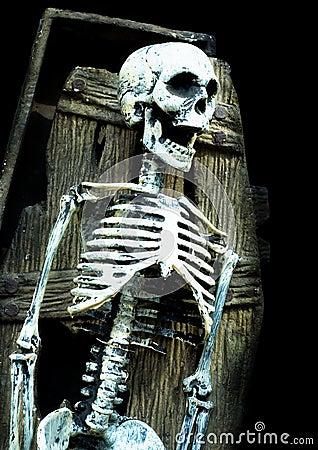 Schreiendes Skelett im Sarg