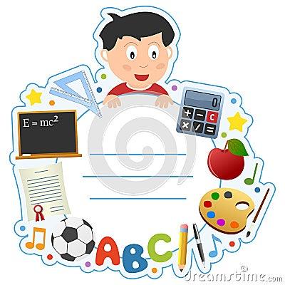 Schule-Jungen-Bucheinband-Feld