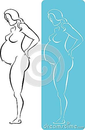 Nackte Volle K Rpergrafik Von Monaten Schwangeren Frau