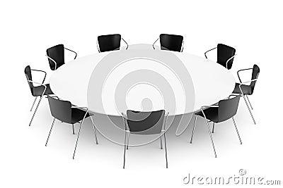 schwarze b ro st hle und konferenz rundtisch stock. Black Bedroom Furniture Sets. Home Design Ideas