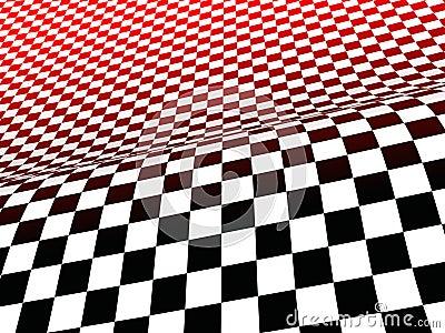 Schwarze, weiße und Rotchecks