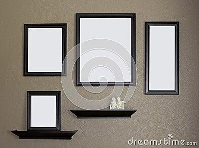 schwarzer bilderrahmen und regal collage lizenzfreies stockbild bild 6003126. Black Bedroom Furniture Sets. Home Design Ideas