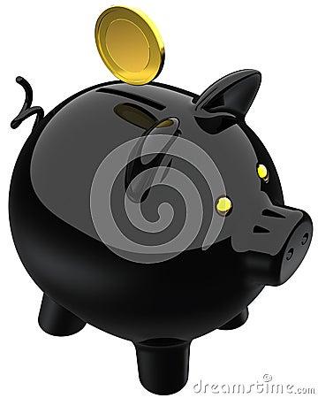 Schwarzes der Piggy Querneigung und eine goldene Münze