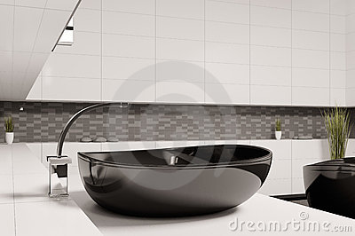 schwarzes waschbecken im badezimmer 3d lizenzfreies stockfoto bild 14303715. Black Bedroom Furniture Sets. Home Design Ideas