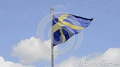 schweden flagge stock video bild von blau haupts chlich. Black Bedroom Furniture Sets. Home Design Ideas
