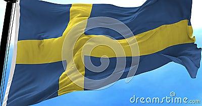 Schweden-Flagge im Wind stock video footage