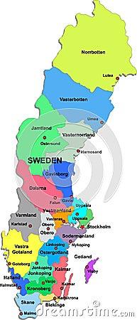 Karte Schweden Regionen.Karte Von Schweden Arop Digimerge Net