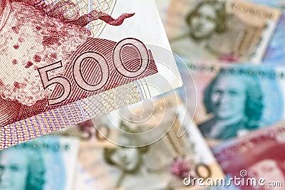 Schwedische Kronen. Schwedisches Bargeld