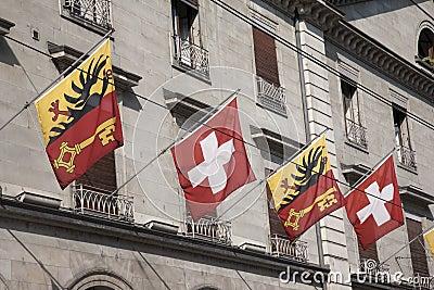 Schweizer und Waadt-Flaggen, Genf