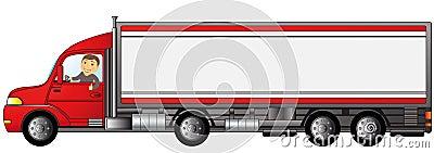 Schwerer LKW mit Mann mit Platz für Text