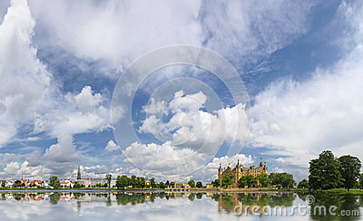 Schwerin old town with castle and lake, Germany