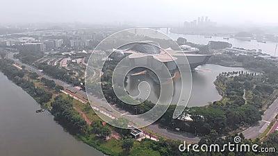 Schwerpunkt des Wissenschaftszentrums in Guangzhou Ein schönes Gebäude aus der Zukunft stock video footage