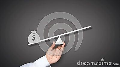 schwerpunkt Taschen des Geldes auf den Skalen vektor abbildung
