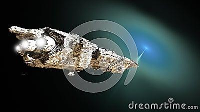 Sci-fi Battle Cruiser Approaching a Wormhole
