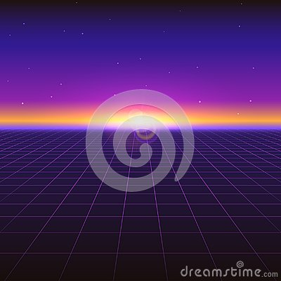 Free Sci Fi Futuristic Abstract Background With Neon Grids And Stars. Violet Retro Gradient, Vintage Style Of The 80s Stock Image - 109877941