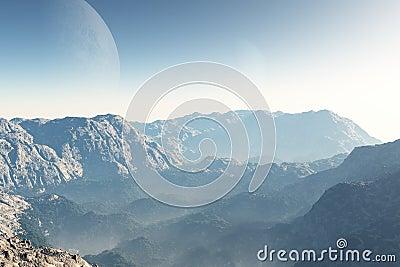 Sci-fi Landscape at Dawn