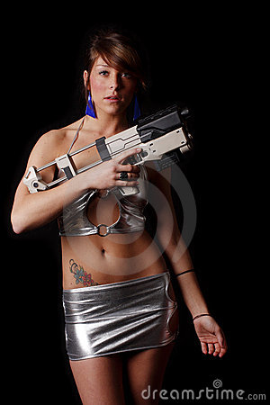 Sci-Fi woman with ray gun