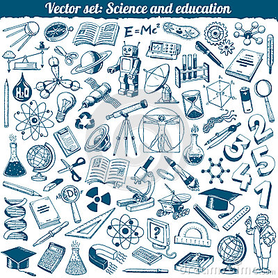 Free Science And Education Doodles Icons Vector Stock Image - 36331661
