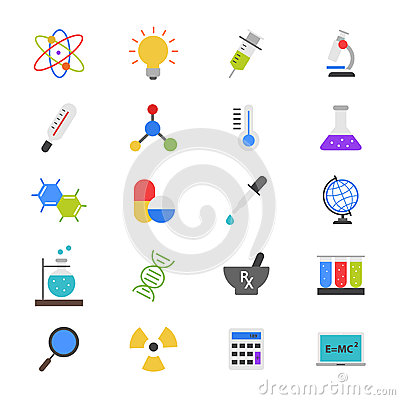 Free Science And Medical Flat Color Icons Stock Images - 69897994