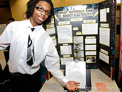Science Fair Poster And Student Royalty Free Stock Image - Image: 23635216