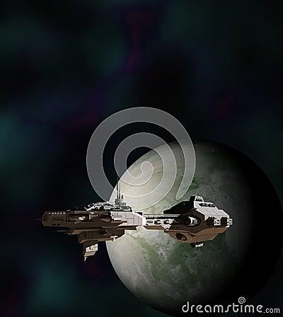 Science Fiction Gunship in Orbit