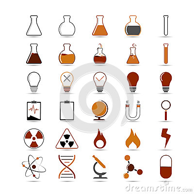 Free Science Icons Royalty Free Stock Image - 57443766