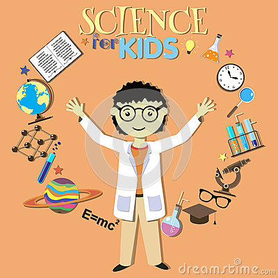 Science For Kids. Cartoon Scientist, Collection Of Stock ...