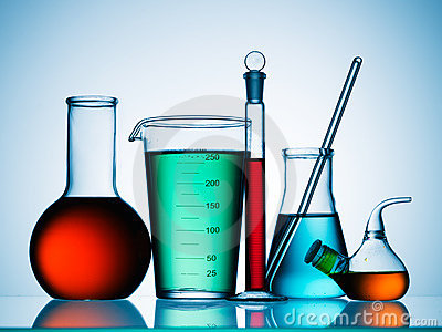 Science lab chemicals Stock Photo