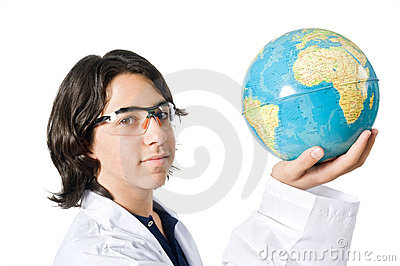 Science student holding a globe