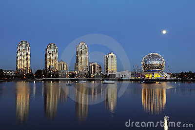 Science world and moonrise