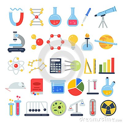 Free Scientific Icon Set. Science Lab With Different Equipment. Vector Pictures In Flat Style Royalty Free Stock Photos - 101500968