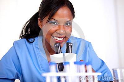 Scientific woman looking at you