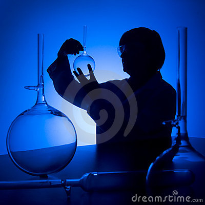Scientist blue silhouette
