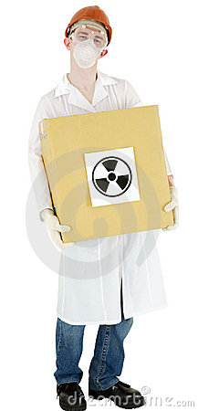 Scientist with box
