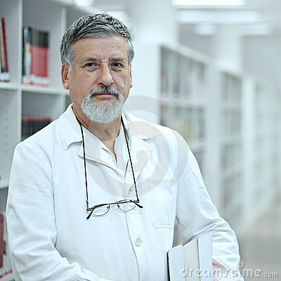 Scientist/doctor in a library