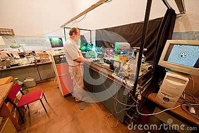 Scientist engaged in research in his lab