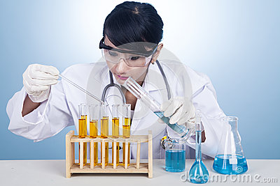 Scientist examining bio chemicals