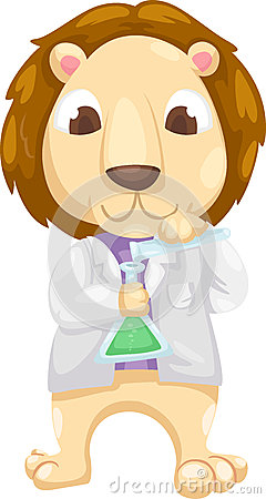 Scientist lion vector