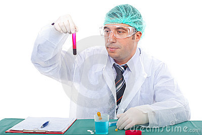 Scientist man examine blood tube