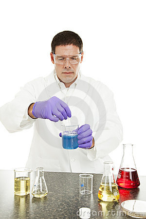 Scientist Mixes Compound in Lab