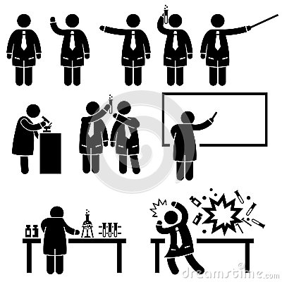 Scientist Professor Science Lab Pictograms