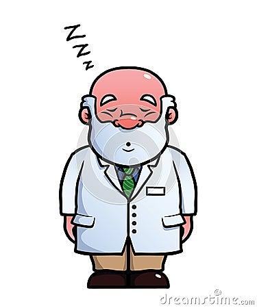 Scientist sleeping and snoring